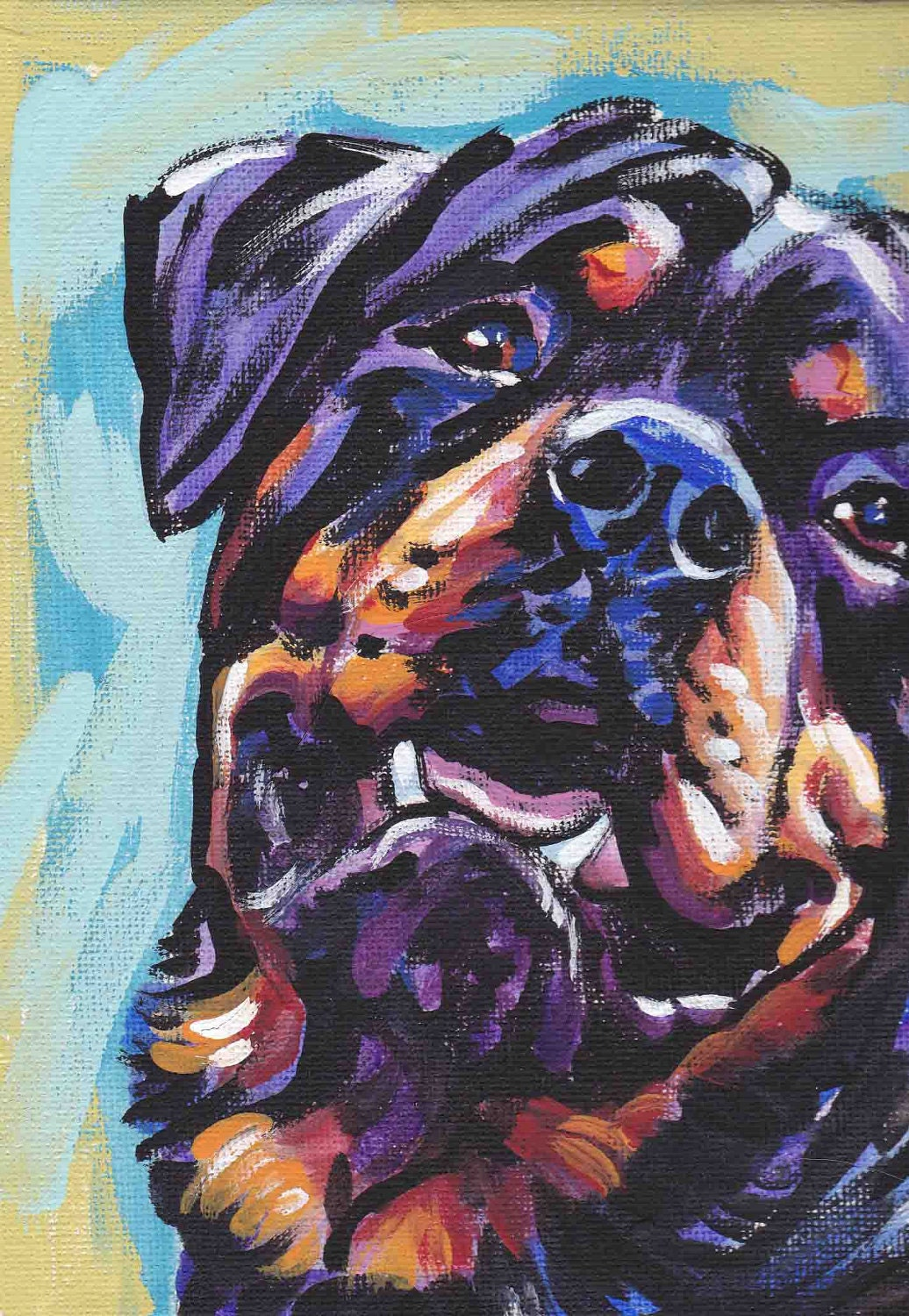 Rottweiler art print dog pop art bright colors 13x19 lea for Dog painting artist