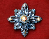 Vintage Glass Rhinestone Brooch Blue Floral