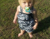 Ready to Ship - Cute Zebra Print Satin Petti Romper With Straps And Bow