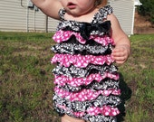 Ready to Ship - TAKE AN ADDITIONAL 40% Off Black Damask and Pink Polka Dot Satin Petti Romper With Straps And Bow Size Extra Large 3T-4T