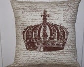 """shabby chic, feed sack, french country, vintage crown graphic on brown and creme script print 14"""" x 14"""" pillow sham."""