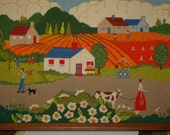 Vintage Folk Art Needle Point Cow Barn Country Farm Wall Hanging