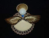 Vintage Jewelry Angel Brooch Handmade Angelic Pin