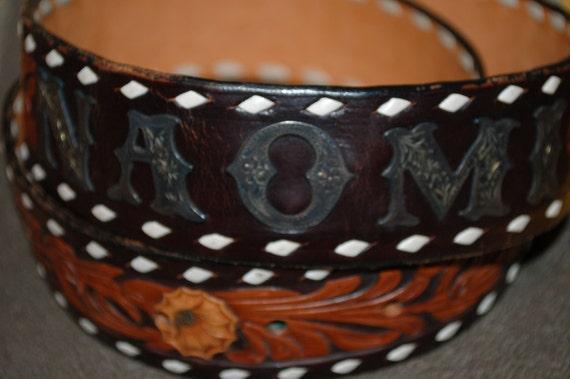 Vintage Leather Floral Motif Cowgirl Belt Naomi Silver Tone Metal Lettering