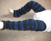 Legwarmers Black with Blue Sparkle Stripes, READY TO SHIP Baby/Toddler/Girl/Tween