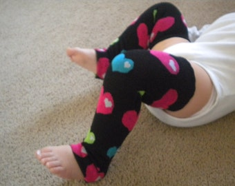 Baby Legwarmers Black with Hearts Purple, Pink, Green, Aqua READY TO SHIP