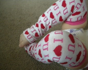 Baby Legwarmers White I (Love) U in Pink and Red Hearts, Baby Valentines Day, Baby Girl