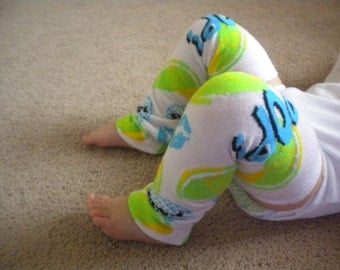 Baby Legwarmers White with Lemon/Lime Yellow and Green Bright Blue Kisses READY TO SHIP