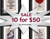 Sale on Dictionary Art Prints - SPECIAL - 10 for 50 SALE - Any Design Printed on 8x10.5 Vintage Dictionary Paper