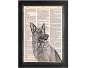 German Shepherd Dog Art - Print on Vintage Dictionary Paper - 8x10.5
