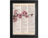 Branch of Pink Flowers - Botanical Art Print on Vintage Dictionary Paper - 8x10.5