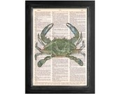 Ocean Life - The Blue Crab - Crab Art Printed on Vintage Dictionary Paper - 8x10.5 Marine Life Print