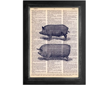 Two Pigs - Print on Vintage Dictionary Paper - 8x10.5