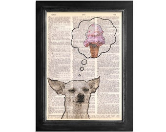 A Dogs Dream - Printed on a Beautifully Upcycled Dictionary Page - 8x10.5