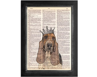 The Era of The Basset Hound - Original Art Design Printed on Beautiful Vintage Dictionary Paper - 8x10.5