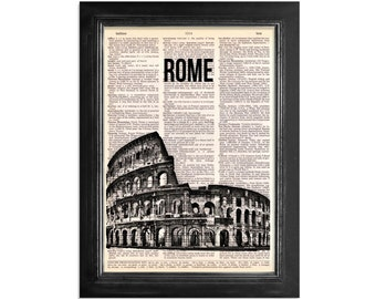 Rome's Coliseum - Rome Italy Coliseum Print on Beautiful Vintage Dictionary Paper - 8x10.5