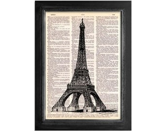 The Eiffel Tower - Print on Vintage Dictionary Paper - 8x10.5