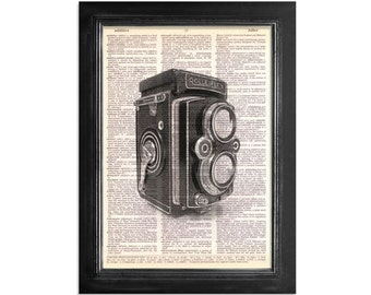 The Rolleiflex Camera Print - Series 2 - Printed on Upcycled Vintage Dictionary Paper - 8x10.5 - Camera Art Print