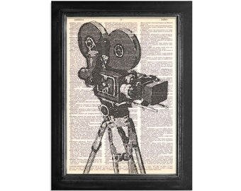 Movie Camera and Tipod Close Up in Black and White - Vintage Dictionary Art Print - 8x10.5 - Movie Camera Art