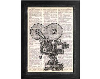 The Vintage Movie Camera in Black and White - Retro Movie Camera Printed on Vintage Dictionary Paper - 8x10.5