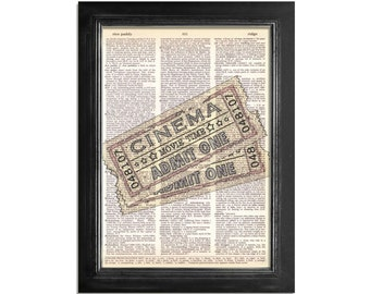 Cinema Movie Tickets - Theater Art Print on a Vintage Dictionary Paper - 8x10.5