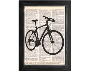 The Hybrid Bike - Bicycle Print on Vintage Dictionary Paper - 8x10.5