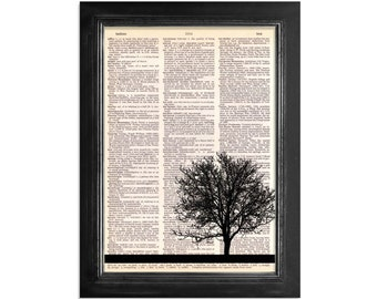 My Friend The Tree - Dictionary Art Print on vintage dictionary paper - 8x10.5 - Tree Art Print