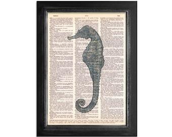 Ocean Blue Seahorse - Marine Life Vintage Dictionary Art Print - 8x10.5 - Seahorse Dictionary Art Print