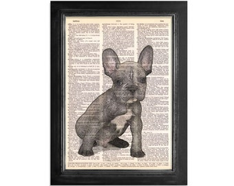French Bulldog - Printed on Beautiful Vintage Dictionary Paper - 8x10.5 Dictionary Art Print
