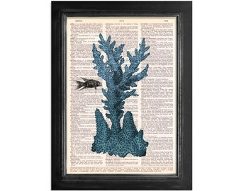 Blue Sea Coral Ocean Life Art - Print on Vintage Dictionary Paper - 8x10.5