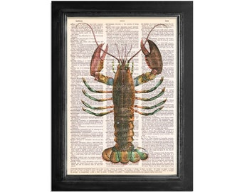 Ocean Life - A Colorful Lobster - Marine Life Art Print on Vintage Dictionary Paper - 8x10.5 Marine Life Art Print