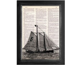 Sailing with Number 5 - Nautical Ship Series 5 - Sailboat Art Print on a Vintage Dictionary Paper - 8x10.5