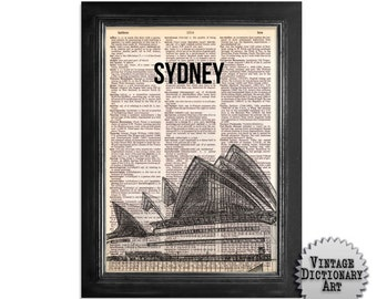 Sydney Australia Opera House - printed on Vintage Dictionary Paper - 8x10.5