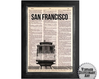 San Francisco Cable Car Fisherman's Wharf  - printed on Recycled Vintage Dictionary Paper - 8x10.5