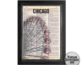 Chicago Ferris Wheel - printed on Vintage Dictionary Paper - 8x10.5