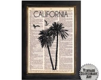 California Coast - Surf Series 1 - Dictionary Art Print on Recycled Vintage Dictionary Paper - 8x10.5 - Mixed Media Wall Decor Art Print