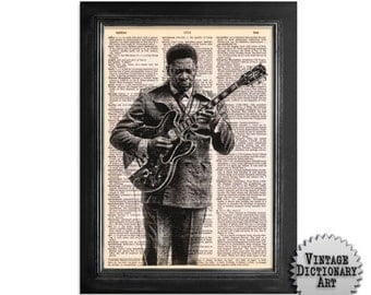 Young BB King - The Musician Series - Printed on Vintage Dictionary Paper - 8x10.5