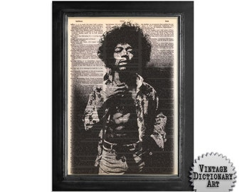 Jimi Hendrix in Black & White - Printed on Vintage Dictionary Paper - 8x10.5