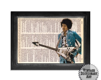 Jimi Hendrix & The Flying V Guitar - Printed on Vintage Dictionary Paper - 8x10.5