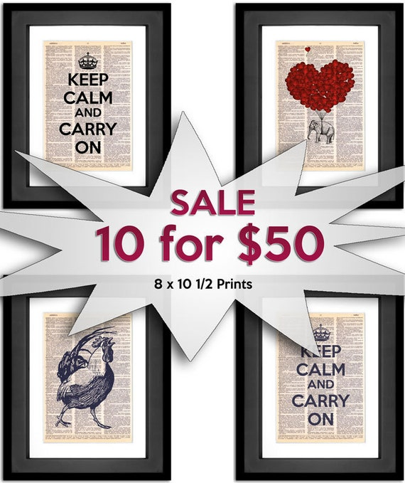 Dictionary Art Print SALE - 10 for 50 SALE - Any Design Printed on 8x10.5 Vintage Dictionary Paper