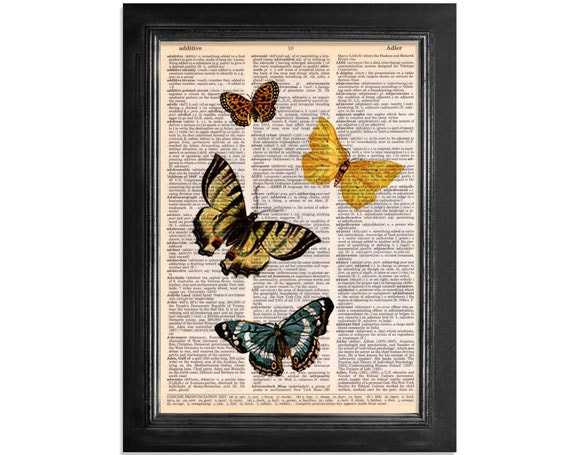4 Beautiful Butterflies Orange, Yellow & Blue - Butterfly Collage Printed on Upcycled Vintage Dictionary Paper - 8x10.5