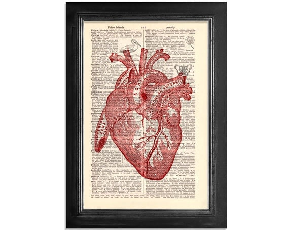 A Red Heart - Printed on Beautifully Upcycled Vintage Dictionary Paper - 7x10