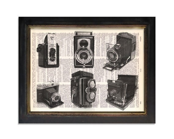 Black & White Collage of 6 Vintage Cameras - Printed on Upcycled Vintage Dictionary Paper - 8x10.5