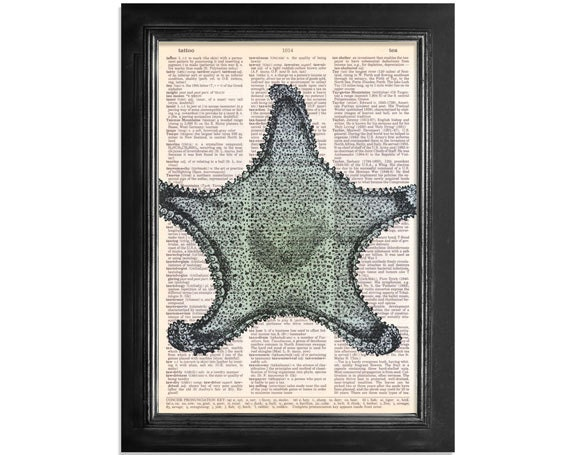 Blue Starfish Dictionary Print - Printed on Vintage Dictionary Paper - 8x10.5