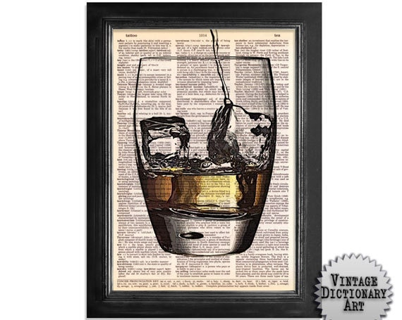 Pour Yourself a Whiskey or Scotch - Cocktails in the Afternoon Series - printed on Vintage Dictionary Paper - 8x10.5 - dictionary art print