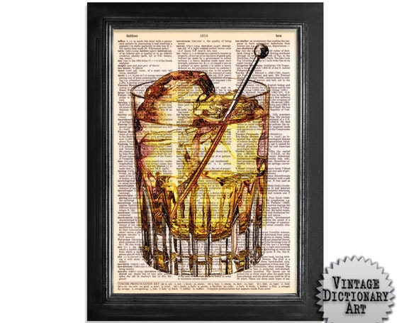 Whiskey on The Rocks - Cocktails in the Afternoon Series - Printed on Vintage Dictionary Paper - 8x10.5