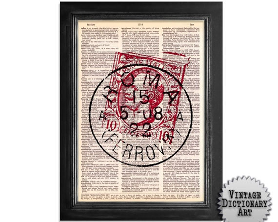 Rome Mail Stamp - Printed on Vintage Dictionary Paper - 8x10.5
