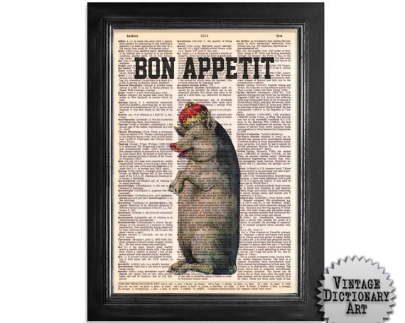 Bon Appetit Royal Pork - Pig & Crown Kitchen Art Printed on Beautifully Upcycled Vintage Dictionary Paper - 8x10.5 Dictionary Art Print