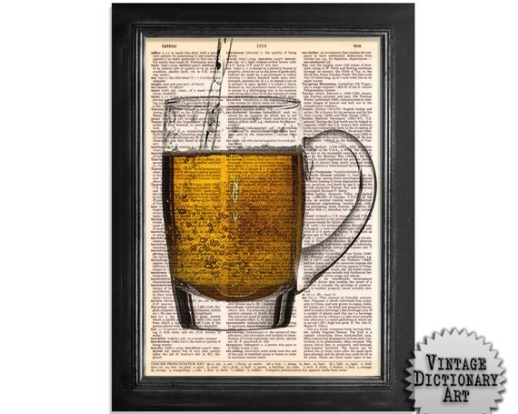 Mug of Beer - Cocktails in the Afternoon Series - printed on Vintage Dictionary Paper - 8x10.5 beer art