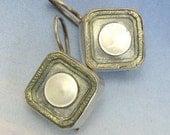 Antique Art Deco Earrings Mother of Pearl Cufflinks Sterling Silver Ear 2
